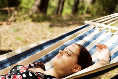 Young woman in hammock Royalty Free Stock Photography