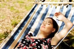 Young woman in hammock Royalty Free Stock Image