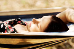 Young woman in hammock Royalty Free Stock Photo