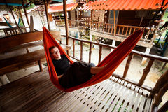 Young woman in hammock Stock Photos