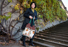 Young woman with hand bag Royalty Free Stock Images