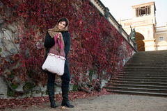 Young woman with hand bag Stock Images