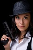 Female Model with Gun Stock Photography