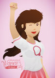 Young Woman with Hand High for Women's Day Commemoration, Vector Illustration. Pretty young girl with withe shirt with woman's symbol stamp and her hand in high Stock Image