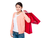 Young woman hand hold with shopping bag Stock Image