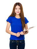 Young woman with hand holding folder Royalty Free Stock Image