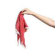 Young woman hand holding handkerchief isolated Royalty Free Stock Photo