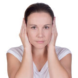 Young woman hand over ears Royalty Free Stock Image