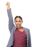 Young woman with hand raised in celebration Royalty Free Stock Photo