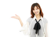 Young woman hand showing blank sign Royalty Free Stock Images