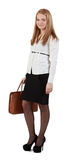 Young woman with handbag. Against a white background Royalty Free Stock Photo