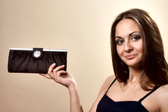 Young woman with handbag Royalty Free Stock Photography