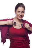 Young woman with handcuffs Royalty Free Stock Photography