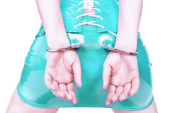 Young woman in handcuffs Royalty Free Stock Images
