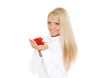 Young  woman with a handful of berries. Royalty Free Stock Images