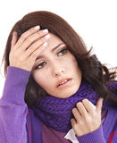 Young woman with handkerchief having  cold. Stock Photography