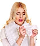 Young woman with handkerchief having  cold. Royalty Free Stock Photos