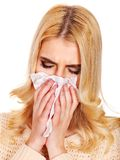 Young woman with handkerchief having  cold. Stock Images