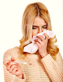 Young woman with handkerchief having  cold. Royalty Free Stock Image