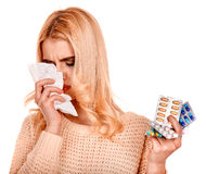 Young woman with handkerchief having  cold. Stock Photos
