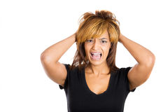 Young woman with hands behind her head, something driving her crazy Royalty Free Stock Photography