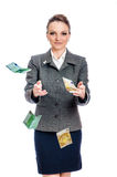 Young woman Hands Catching Money Royalty Free Stock Photo