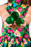 Young woman hands with christmas ball Royalty Free Stock Photo