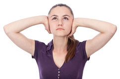 Young woman hands on ears Royalty Free Stock Photo
