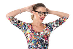Young Woman With Hands on Head Laughing Wearing Glasses Royalty Free Stock Photo