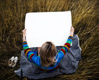 Young Woman Hands Holding Blank Empty Paper Stock Image