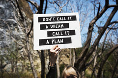 Young Woman Hands Holding Blank Paper with Life Motivation Phras Royalty Free Stock Images