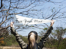 Young Woman Hands Holding Sign Said Free Your Mind Stock Image