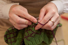 Young woman hands knitting with two coloured wool Stock Photography