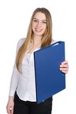 Young woman hands over a file Royalty Free Stock Photography