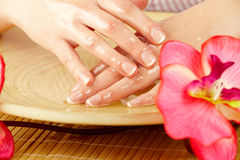 Young woman hands on spa treatment Stock Photo