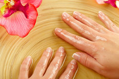 Young woman hands on spa treatment Royalty Free Stock Image