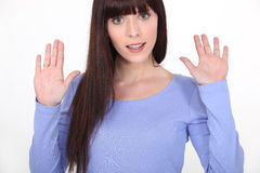 Young woman hands up Stock Photo
