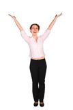 Young woman hands up Stock Image