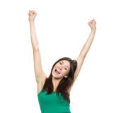 Young woman hands up raised Stock Photo