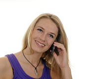 Young woman with handy Royalty Free Stock Photography