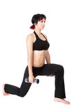 Young woman hang up hads weights Stock Image