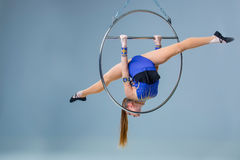 Young woman hanging in aerial ring on a blue background Royalty Free Stock Photos
