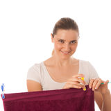 Young woman hanging laundry isolated Stock Photos