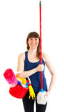 Young woman happy cleaner is like a soldier Royalty Free Stock Photo