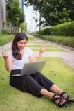 Young woman happy emotion and feeling great news in career job Royalty Free Stock Photography