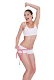 Young woman happy with her waist measure Stock Image