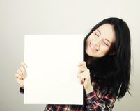 Young woman happy holding blank sign Royalty Free Stock Image