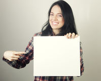 Young woman happy holding blank sign Royalty Free Stock Photos