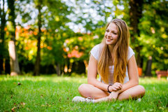 Young woman - happy in nature Royalty Free Stock Photos