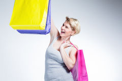 Young woman happy after shopping Stock Photography